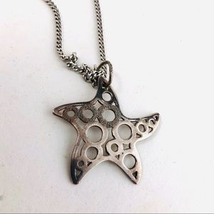 Sterling Silver Star Necklace Modernist Long 20""